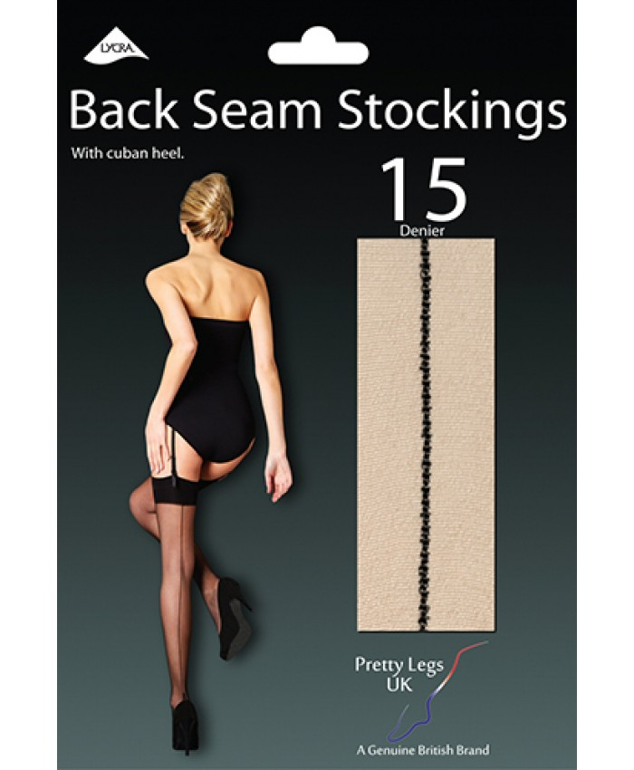 Pretty Legs 15 Denier Back Seam Stockings with Cuban Heel