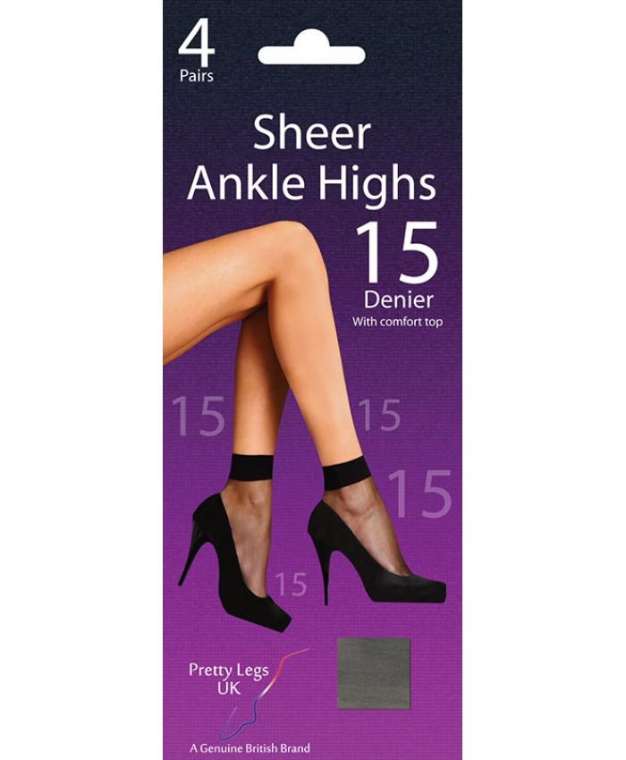 Pretty Legs 15 Denier Sheer Ankle Highs (4 Pair Pack)