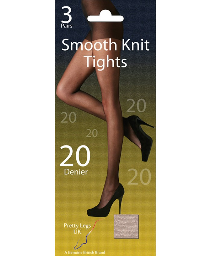 Pretty Legs 20 Denier Smooth Knit Tights (3 Pair Pack)
