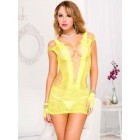 Music Legs Lace and Net with Shredded Strap Dress in Neon Pink, Neon Yellow, Neon Green & Black