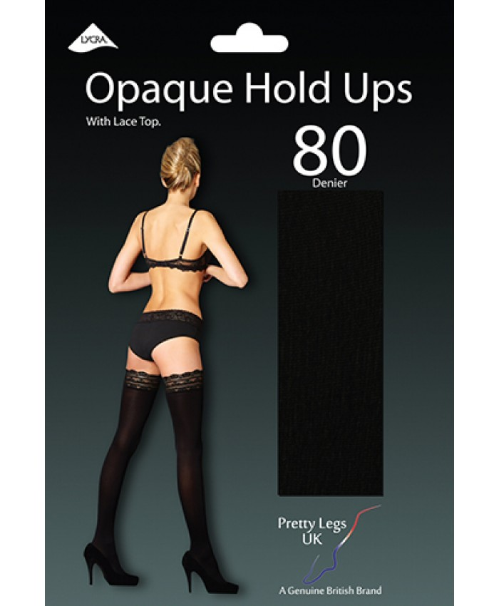 Pretty Legs 80 Denier Opaque Hold Ups with Lace Top BLACK ONLY