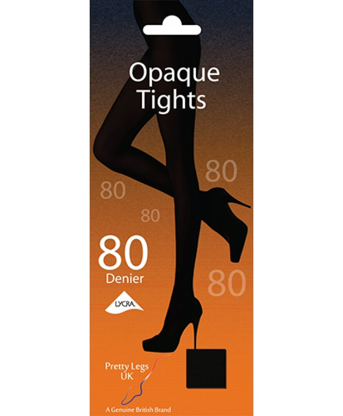 Pretty Legs 80 Denier Lycra Opaque Tights BLACK ONLY