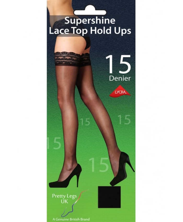 Pretty Legs 15 Denier Supershine Lace Top Hold Ups