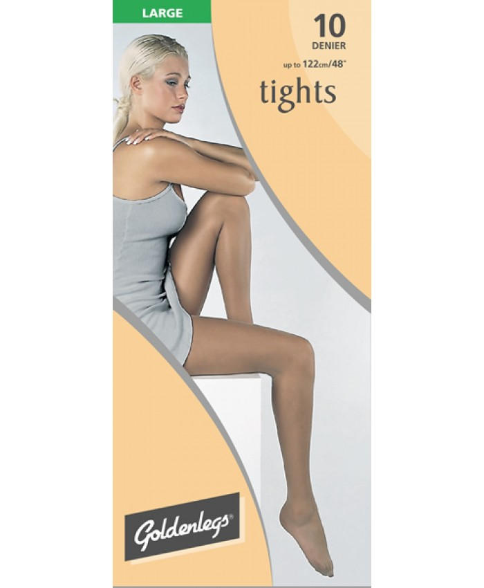 "Goldenlegs Large 10 Denier Tights (upto 48""hip/122cms)"