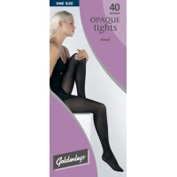 "Goldenlegs One Size 40 Denier Opaque Tights (upto 42""hip/107cms) BLACK ONLY"