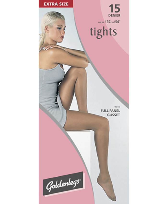 "Goldenlegs Extra Size 15 Denier Tights  with Full Panel Gusset  (upto 54""hip/137cms)"