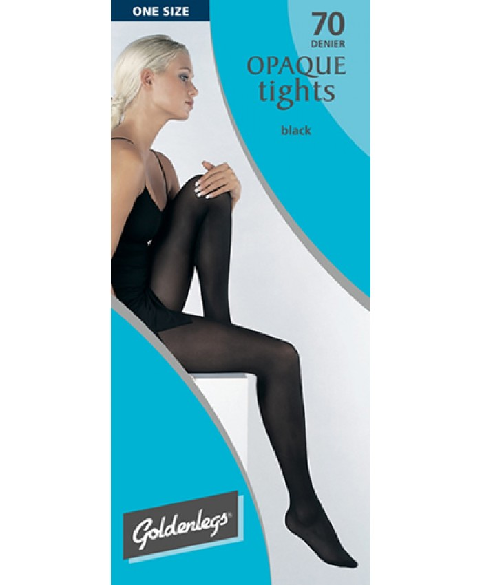 "Goldenlegs One Size 70 Denier Opaque Tights (upto 42""hip/107cms) BLACK ONLY"