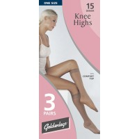 Goldenlegs 15 Denier Knee Highs with Comfort Top (3 Pair Pack)