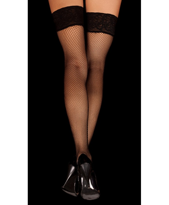 Fishnet Lace Top Hold Ups  (MADE IN UK)