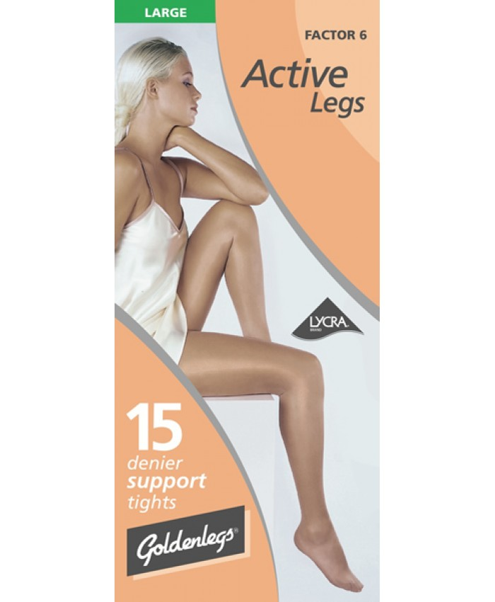 "Goldenlegs Large 15 Denier Support Tights (upto 48""hip/122cms)"