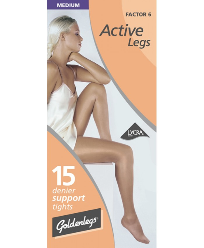 "Goldenlegs Medium 15 Denier Support Tights (upto 42""hip/107cms)"