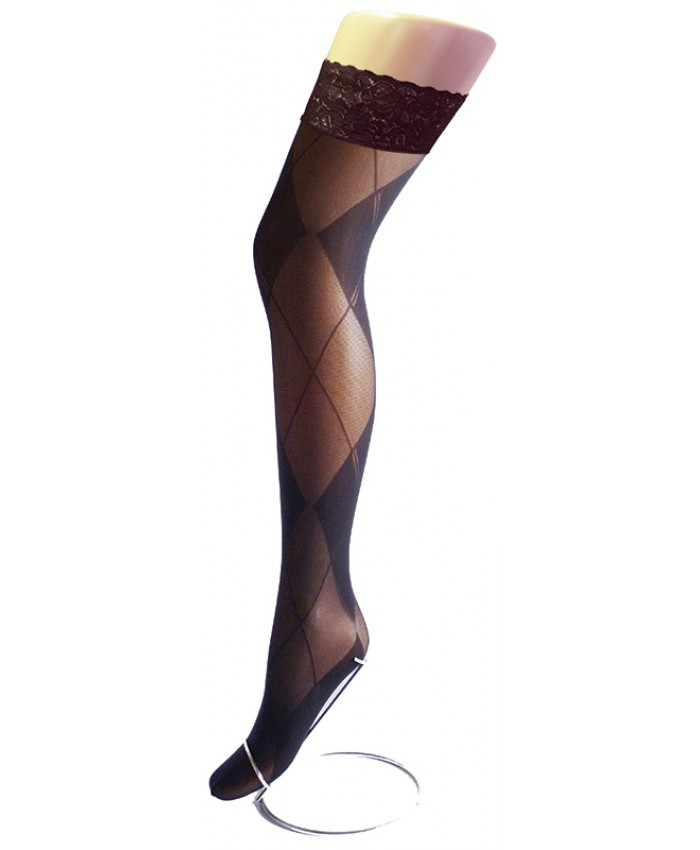 REDUCED - Goldenlegs Opaque Patterned Lace Top Hold Ups - HU850