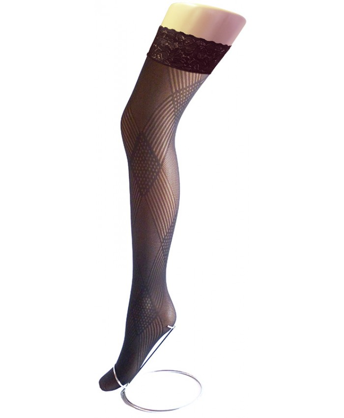 REDUCED - Goldenlegs Opaque Patterned Lace Top Hold Ups - HU851