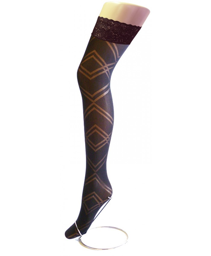 REDUCED - Goldenlegs Opaque Patterned Lace Top Hold Ups - HU852