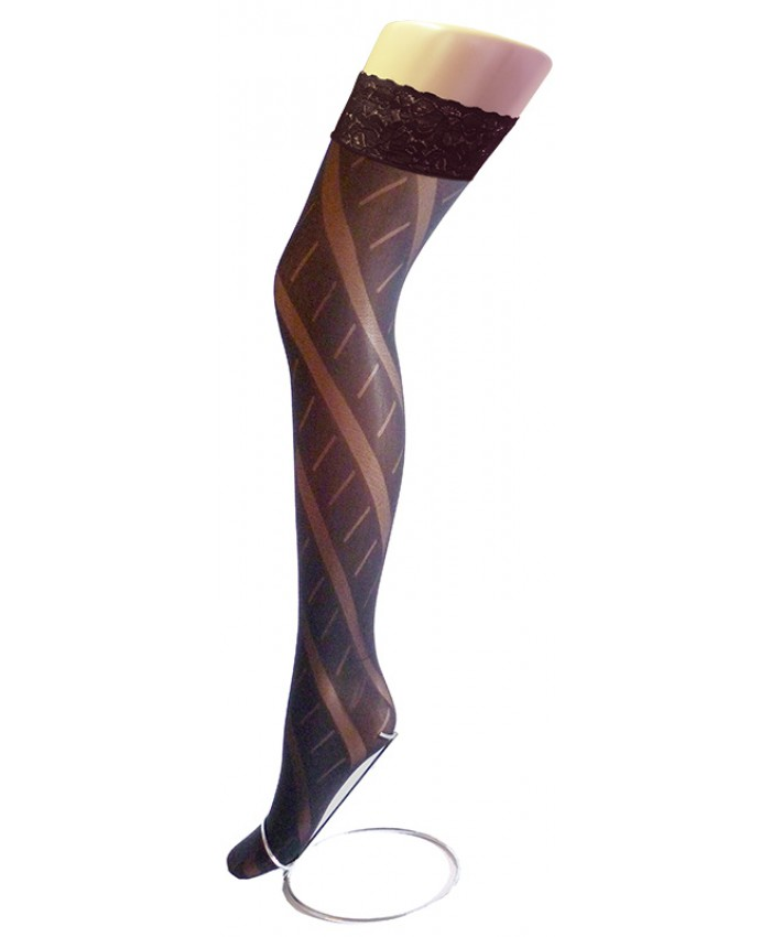 REDUCED - Goldenlegs Opaque Patterned Lace Top Hold Ups - HU854