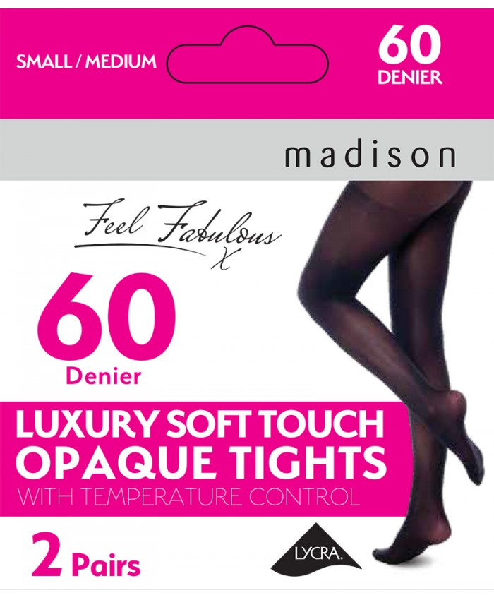 Madison Temperature Control 60 Denier Luxury Soft Touch Opaque Tights (2 Pair Pack)
