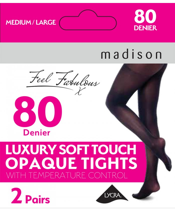 Madison Temperature Control 80 Denier Luxury Soft Touch Opaque Tights (2 Pair Pack)