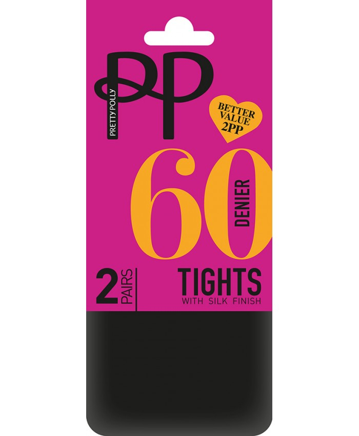 Pretty Polly 60 Denier Opaque Tights (2 Pair Pack)