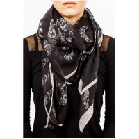 Womens Scarf Black with Skulls