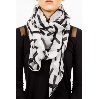Womens Scarf White with Black Crosses