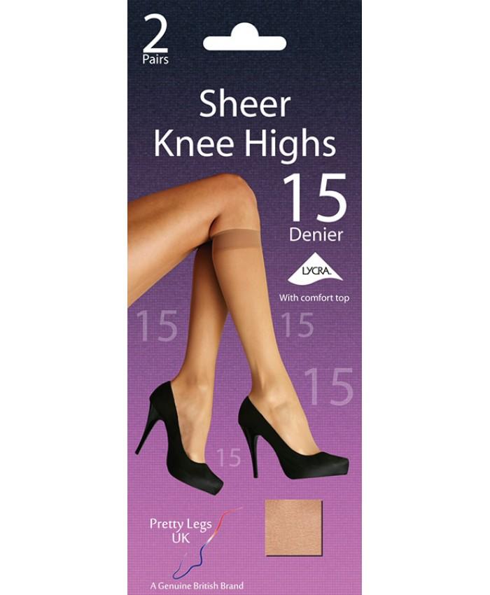 Pretty Legs 15 Denier Sheer Knee Highs (2 Pair Pack)