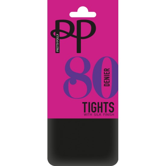 Pretty Polly 80 Denier Opaque Tights with Silk Finish in Black